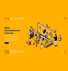 Web development courses isometric landing page vector