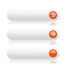 white oval buttons with orange arrows menu vector image