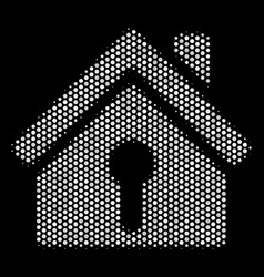 White pixelated home keyhole icon vector