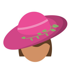 Women day face woman pink hat vector
