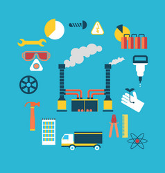 Working industrial process concept flat vector