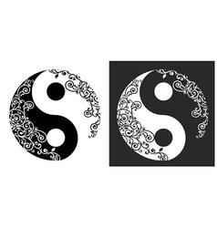 Yin yang two pattern symbol vector image
