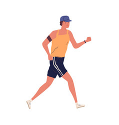 Young guy jogging with armband man running in vector