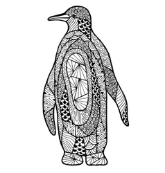 Zentangle a stylized penguin vector image