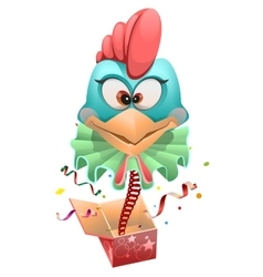 Blue head Rooster clown jumps out of box vector image vector image
