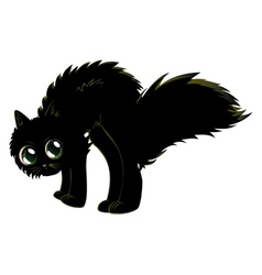 Cartoon black kitten vector image vector image