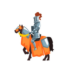 flat icon of medieval knight on horseback vector image vector image