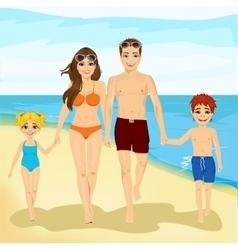 happy family walking along a beach vector image