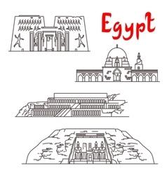Historic landmarks and sightseeings of egypt vector