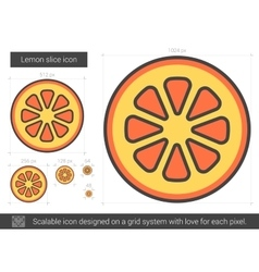 Lemon slice line icon vector