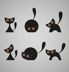 Set of black cats vector image