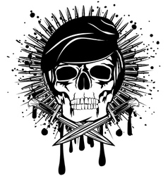 skull in beret crossed knives on grunge splash vector image vector image