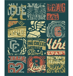 Vintage athletic department badges patchwork vector image vector image