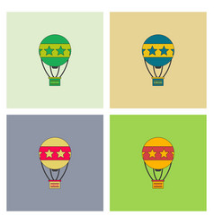 Circus watercolor hot air balloon collection vector