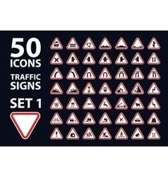 Collection of traffic warning sign red vector