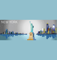 colorful new york city silhouette vector image