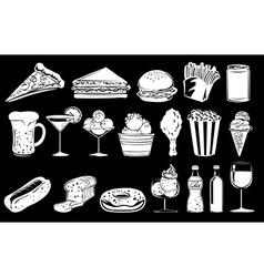 Doodle design of foods vector image vector image