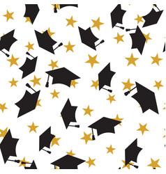 graduate hat seamless pattern vector image