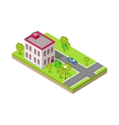 Isometric icon of two storey house near road vector