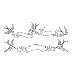 swallows carry ribbonvintage ribbon for design vector image vector image