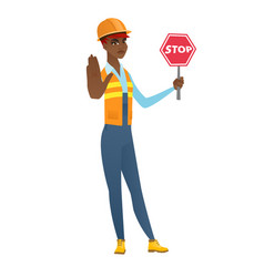 African-american builder holding stop road sign vector