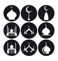 Black and white islamic mosque vector image vector image