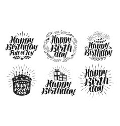 happy birthday label set birth day holiday vector image