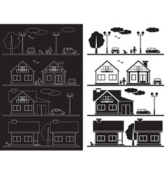 house on street icon vector image vector image