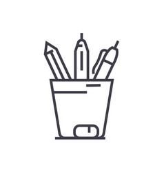 pencil holder line icon sign vector image