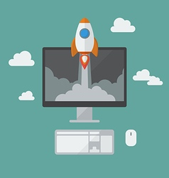 Rocket launching from monitor vector image