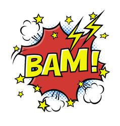 bam phrase in speech bubble comic text bubble vector image vector image