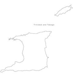 Black White Trinidad and Tobago Outline Map vector image vector image