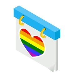 Calendar with rainbow heart isometric 3d icon vector image