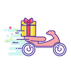 fast delivery of food on a moped vector image