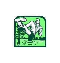 Martial arts fighter kicking cypress tree retro vector