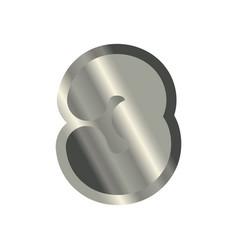 number 3 steel metal font three silver alphabet vector image