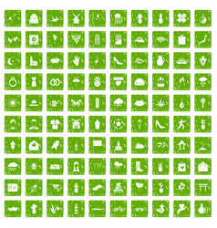 100 flowers icons set grunge green vector image