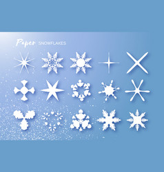 15 white paper cut snowflakes origami winter vector
