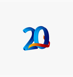 20 years anniversary celebration number blue vector
