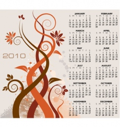 2010 floral calendar vector