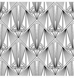 Art deco pattern black white background vector