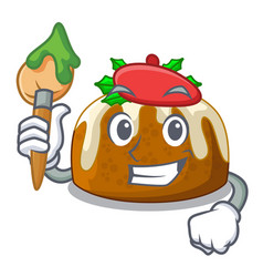 artist character traditional christmas pudding on vector image
