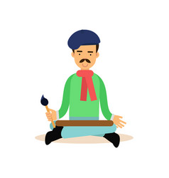 artist meditating with brush in his hand in lotus vector image