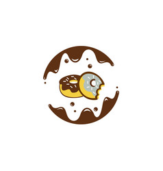 Bitten sugar-coated donuts sweet donuts dessert vector