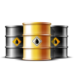 black and gold barrels with oil drop label vector image