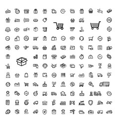 black shipping icon set vector image