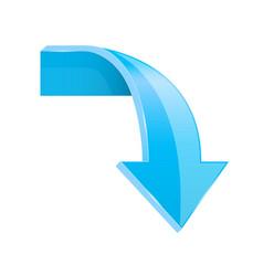 Blue down 3d arrow vector