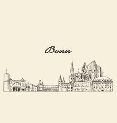 bonn skyline germany hand drawn sketch vector image