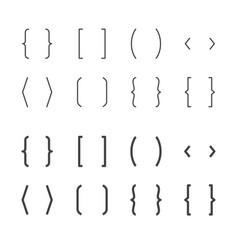 Brackets flat line icons brace vector