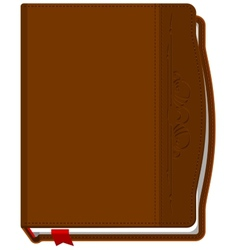 Brown closed the book with a red bookmark vector image
